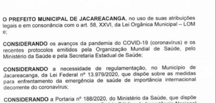 Prefeitura de Jacareacanga: Prefeito Raimundo Batista Santiago Baixou Novo Decreto Com Novas Medidas de Enfrentamento de emergência a saúde Publica e dá novas normativas